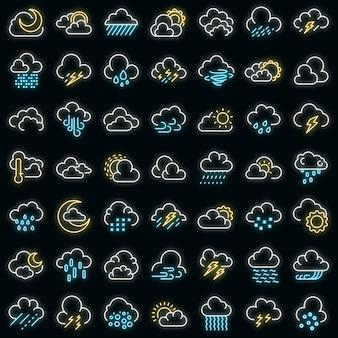 Ícones de tempo nublado definem néon vetorial