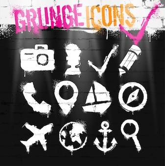 Ícones de tinta spray na parede de tijolos. manchas de tinta. pulverize o fundo do grunge. conjunto de ícones do grunge.