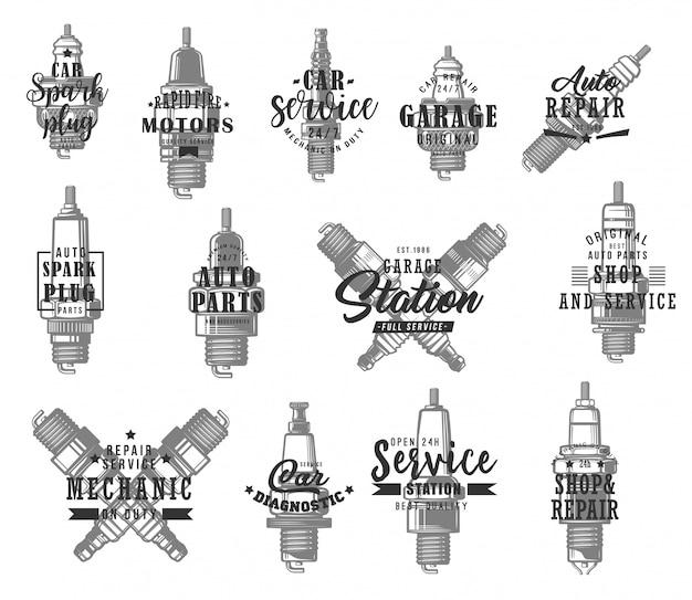 Ícones de tipos de velas de ignição de automóveis