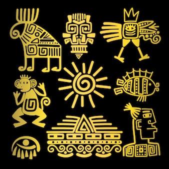 Ícones de totem linear de ouro de estilo maia