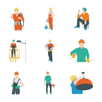 Ícones de trabalhador elétrico