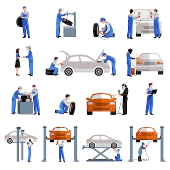Ícones de trabalho de reparação e manutenção de serviço de carro mecânico de automóveis