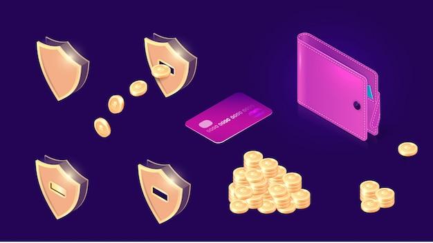 Ícones de transferência de dinheiro isométricos