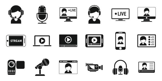 Ícones de transmissão ao vivo definem vetor simples. streaming de vídeo. assistir jogar