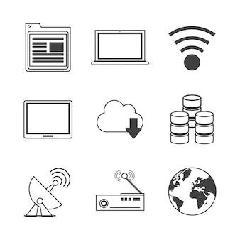 Ícones de transmissão e armazenamento de rede