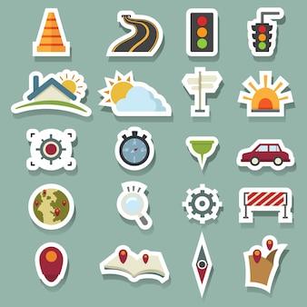 Ícones de transporte e ícones de mapa
