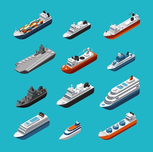Ícones de transporte isométrico de navios de passageiros e carga, barcos à vela, iates e navios