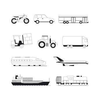Ícones de transporte preto de contorno