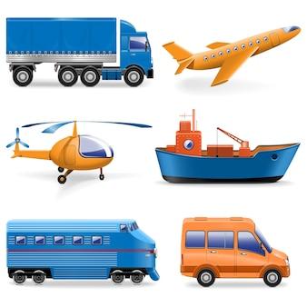 Ícones de transporte vetorial