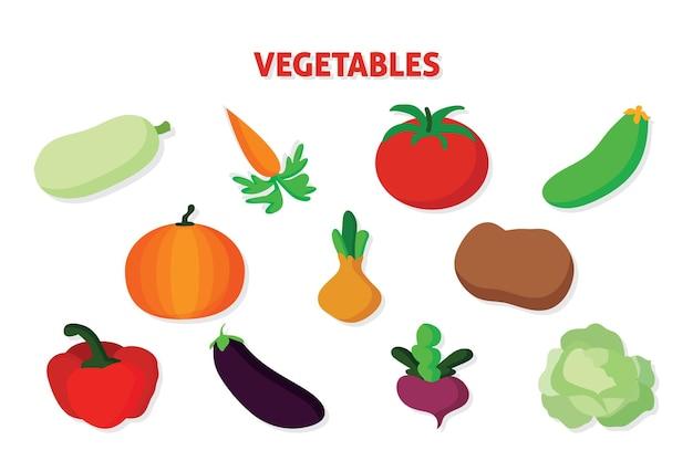 Ícones de vegetais vetoriais definidos em estilo cartoon coleção de produtos agrícolas para o menu do restaurante