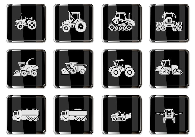 Ícones de veículos agrícolas definidos com combinam elementos de reboques de trator de cultivo e irrigação. pictogramas em botões cromados pretos.