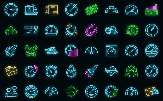 Ícones de velocidade definem vetor neon