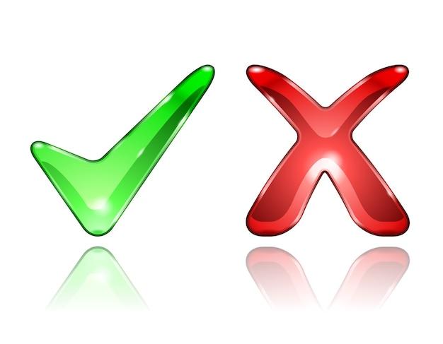 Ícones de verificação e marca cruzada isolados