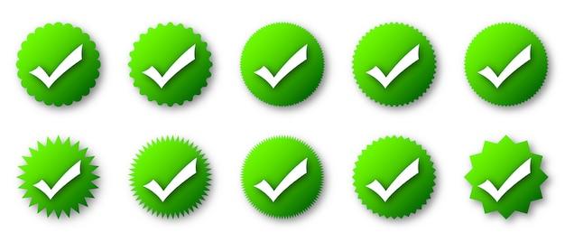 Ícones de verificação verdes com sombra