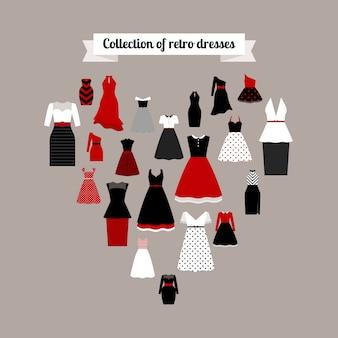 Ícones de vestidos retrô em forma de coração