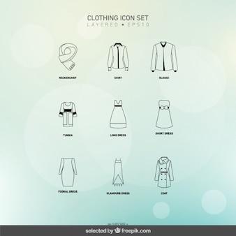 Ícones de vestuário feminino definido