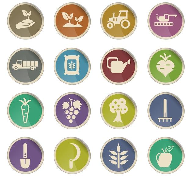 Ícones de vetor agrícola na forma de etiquetas redondas de papel