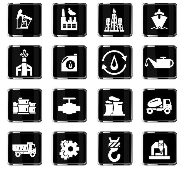 Ícones de vetor da indústria para design de interface de usuário
