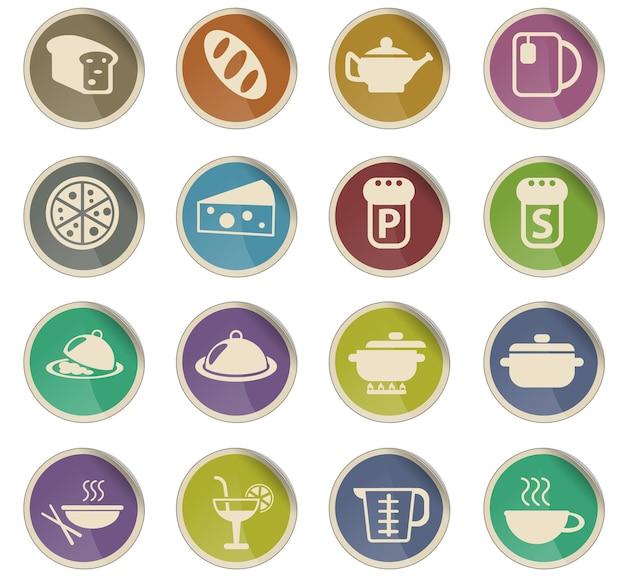 Ícones de vetor de alimentos e cozinha na forma de etiquetas redondas de papel