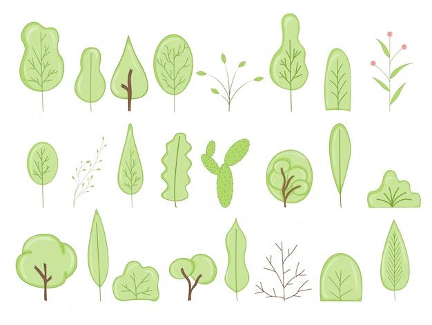 Ícones de vetor de árvore dos desenhos animados