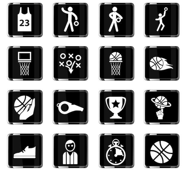 Ícones de vetor de basquete para design de interface de usuário
