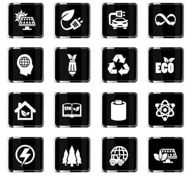 Ícones de vetor de biocombustível para design de interface de usuário