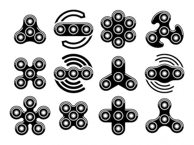 Ícones de vetor de brinquedos de alívio de estresse de fidget spinner