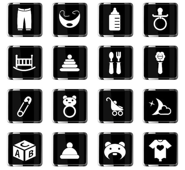 Ícones de vetor de brinquedos de bebê para design de interface de usuário