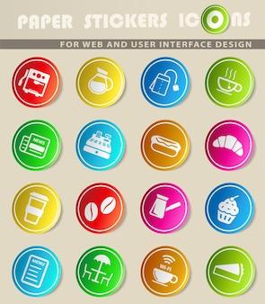 Ícones de vetor de café em adesivos de papel colorido