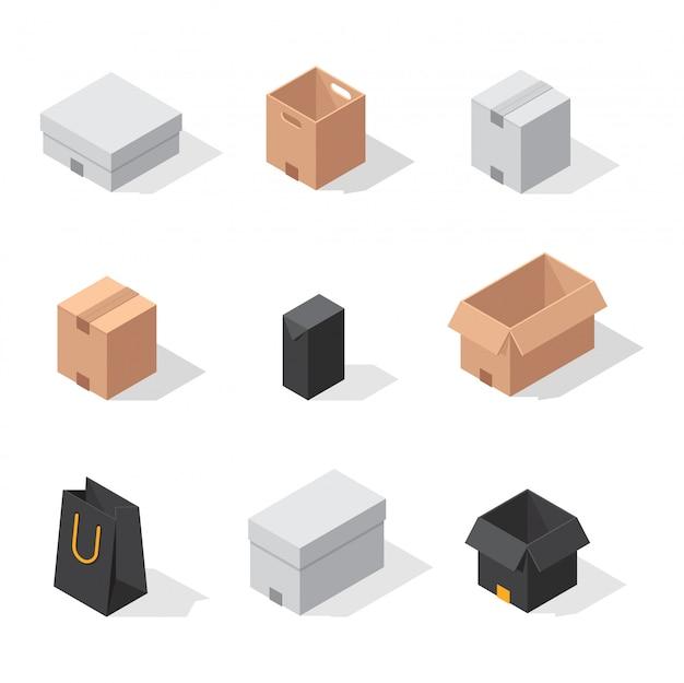Ícones de vetor de caixa diferente