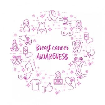 Ícones de vetor de câncer de mama