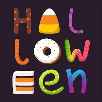 Ícones de vetor de cartão de cartas de doces de halloween