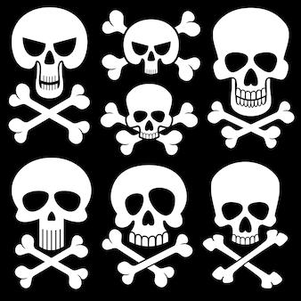 Ícones de vetor de caveira e ossos cruzados de pirataria