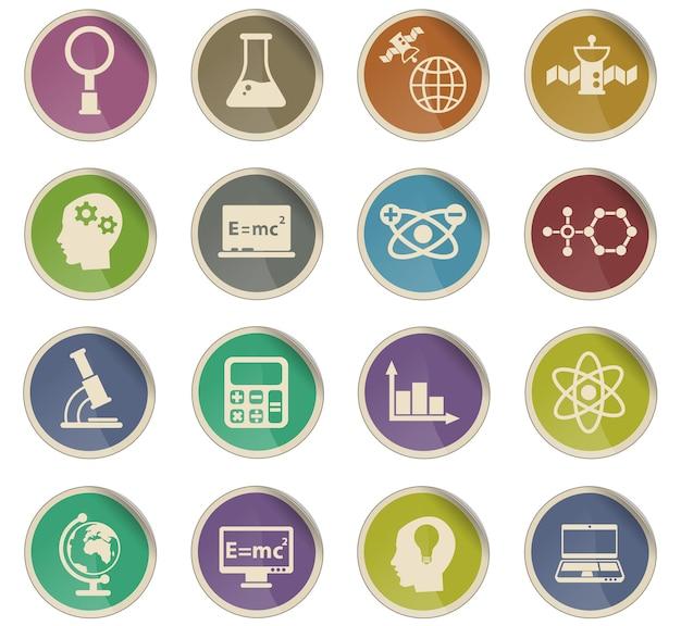 Ícones de vetor de ciência na forma de etiquetas de papel redondas