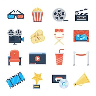 Ícones de vetor de cinema em um estilo simples