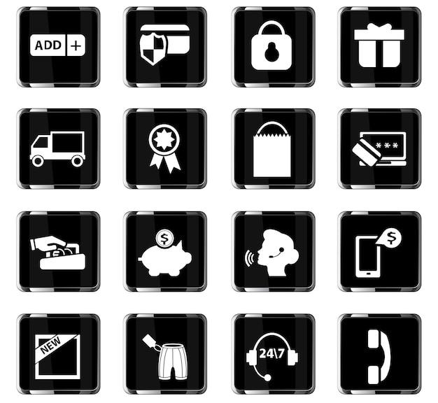 Ícones de vetor de comércio eletrônico para design de interface de usuário