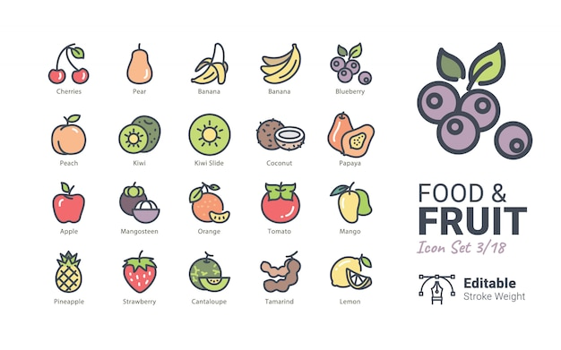 Ícones de vetor de comida e frutas