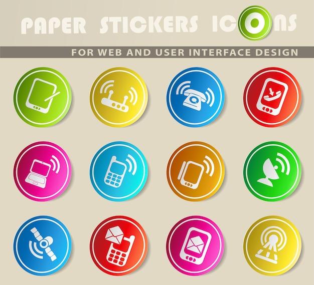 Ícones de vetor de comunicação em adesivos de papel colorido