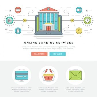 Ícones de vetor de conceito de negócio on-line linha plana.