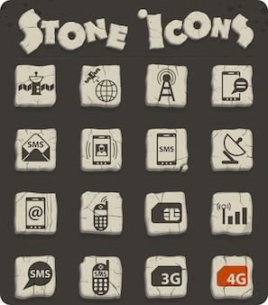 Ícones de vetor de conexão móvel para web e design de interface de usuário