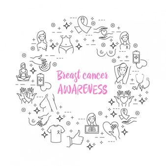 Ícones de vetor de conscientização de câncer de mama