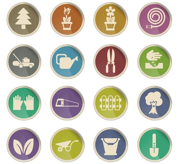 Ícones de vetor de design de paisagem na forma de etiquetas de papel redondas