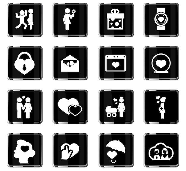 Ícones de vetor de dia dos namorados para design de interface de usuário