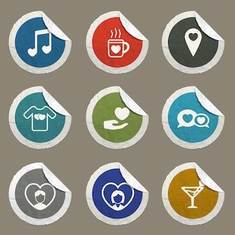 Ícones de vetor de dia dos namorados para sites e interface do usuário