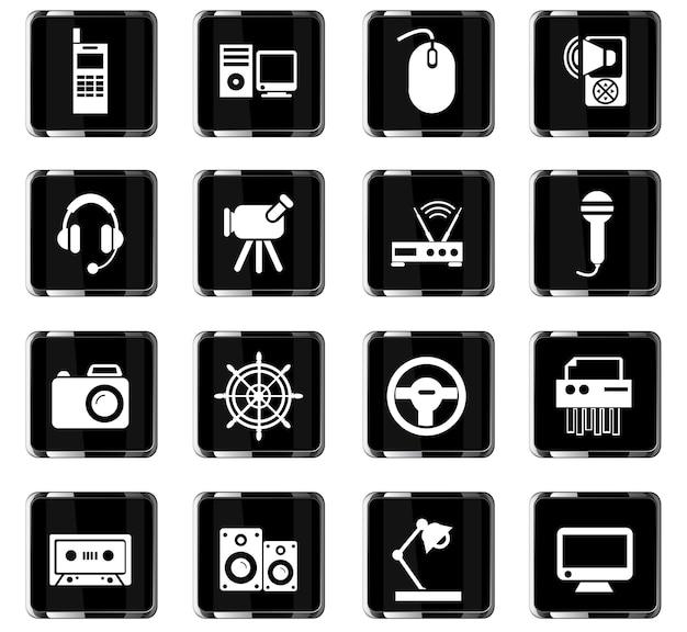 Ícones de vetor de dispositivo para design de interface de usuário