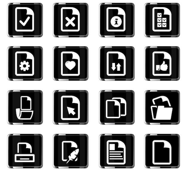 Ícones de vetor de documentos para design de interface de usuário