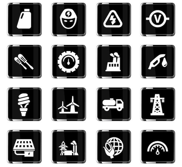 Ícones de vetor de energia alternativa para design de interface de usuário