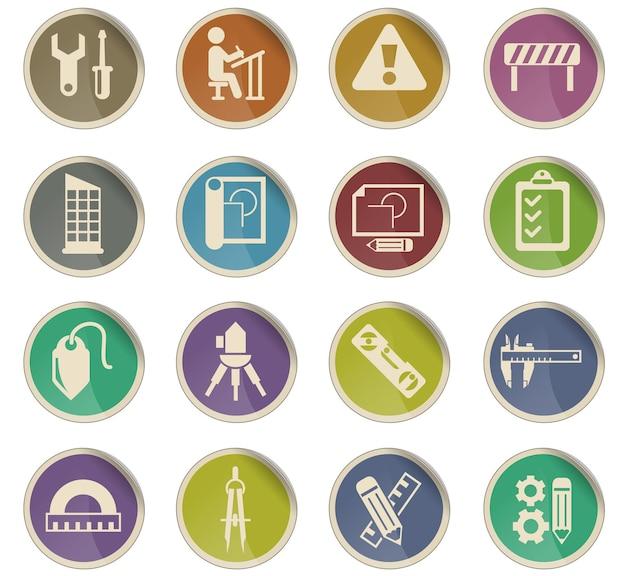 Ícones de vetor de engenharia na forma de etiquetas de papel redondas