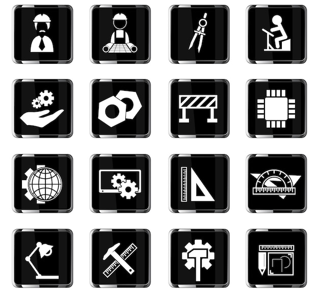 Ícones de vetor de engenharia para design de interface de usuário