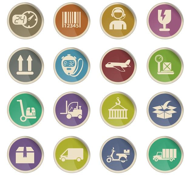 Ícones de vetor de entrega na forma de etiquetas de papel redondas